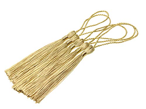 Tupalizy Mini SilkyHandmade SoftFlossy Bookmark Tassels with Cord Loop for Keychain Earring Jewelry Making, Souvenir, Graduation, Clothing Sewing, Gift Tag DIY Craft Projects,20PCS (Light Gold)