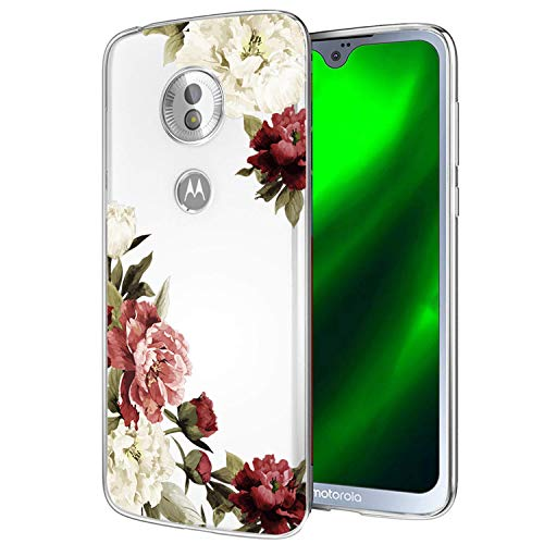 Moto G7 Case, Moto G7 Plus Case with Flowers, Ueokeird Slim Shockproof Clear Floral Pattern Soft Flexible TPU Back Phone Cove for Motorola Moto G7 / G7 Plus (Blossom Flower)
