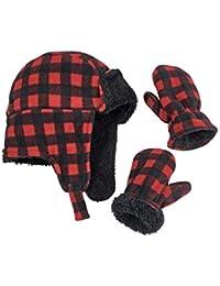 Little Boys and Baby Buffalo Plaid Fleece Trooper Hat...