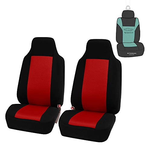FH Group FB102114 Classic Full Set High Back Flat Cloth Car Seat Covers,Pink/Black- Fit Most Car, Truck, SUV, or Van (Red- Pair Set)
