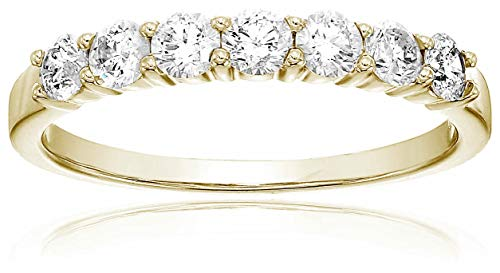 1/2 ctw 7 Stone Diamond Wedding Band 14K Yellow Gold Size 9 ()