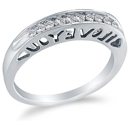 Sonia Jewels Size 7-10K White Gold Round Diamond I Love You Wedding Band Ring - Invisible & Channel Setting (1/5 cttw.) ()