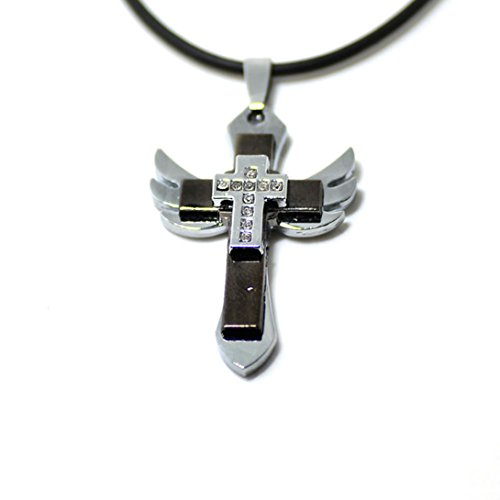 Wensltd Clearance!1 Pair Men's Cross Angel Wing Pendant Neck
