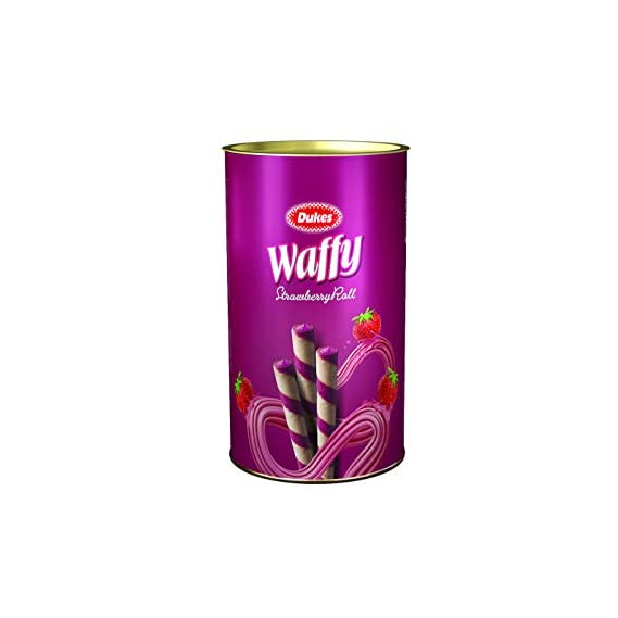 Dukes Waffy Rolls Tin- Strawberry, 300 g