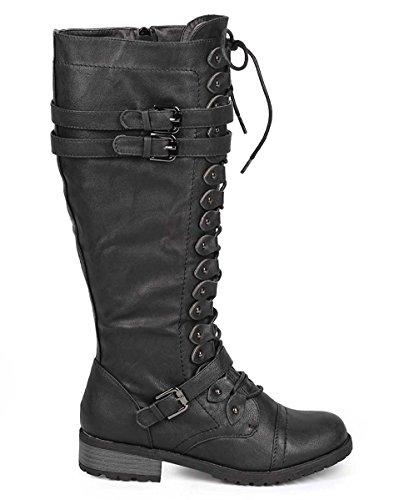 Wild Diva Damenmode Timberly-65 Militär Kniehohe Kampfstiefel Schuhe Schwarz Pu