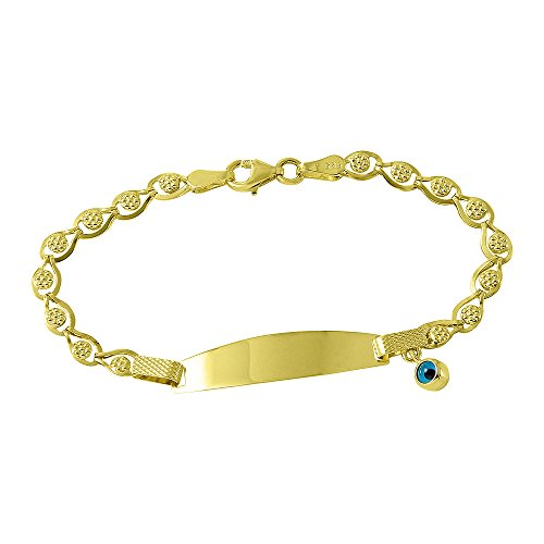Fine 14k Gold Baby ID Bracelet with Evil Eye 5.5'' by Evil Eye by Jewelry America