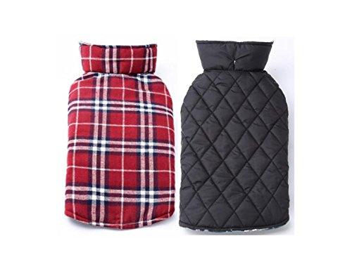 Reversible Fleece Dog Jacket (PetCee Plaid Dog Jacket Reversible Fleece Dog Jacket British Style (Red Plaid,L))