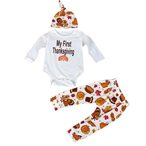 Gotd 3PCS Baby My First ThankSgiving Romper Pants Cap Outfits (0-3Months, White) (Thanksgiving Outfit For Baby Boy)