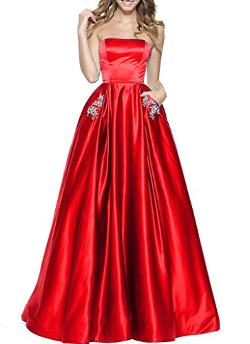 Beaded Strapless Prom Dress - BBCbridal Women's Strapless Beaded Prom Dresses Long A-Line Homecoming Party Gowns with Pockets Red 6