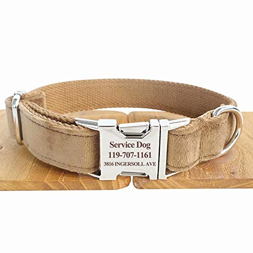 hipidog Personalized Dog Collar, Custom Engraved Dog Collars with Name, Phone & Number Address, Adjustable XS/S/M/L/XL Sizes Fabric Buckle ID Collar, Options to Matching Style ()
