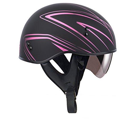 GMAX Unisex-Adult Full-face Style G16510405 Gm65 Torque Naked Half Helmet Flat Black/Pink m (Medium) (Best Helmet For Naked Bikes)