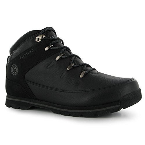 Firetrap Mens Gents Ankle Height Rhino Lace Up Casual Everyday Boots Shoes Black/Black 13