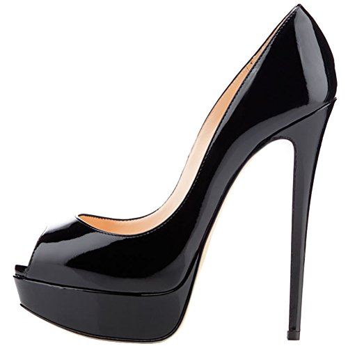 Toe Peep apricot Black Dress Babbittlm Heels Color Gradient EKS Thin Women's Heel bottom Pumps High pXYATOqw