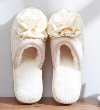 Chaussons coton mode féminine Accueil intérieur anti - skid pantoufles belle automne et chaussures chaudes d'hiver , beige , 38