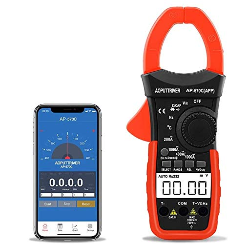 Digital Clamp Meter AP-570C-APP Bluetooth Clamp Multimeter 4000 Counts Auto-Ranging Multimeter with DC AC Voltage Current, Resistance, Temperature, Frequency, Duty Cycle