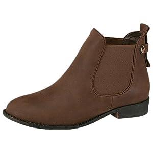 Top Moda Women's La-5 Slip-On Low Heel Ankle Boot Brown 8