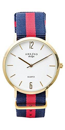 Reloj de Mujer Aresso design en acero dorado y correa de nylon en azul y rojo. Resistente al Agua (Lluvia).: Amazon.es: Joyería