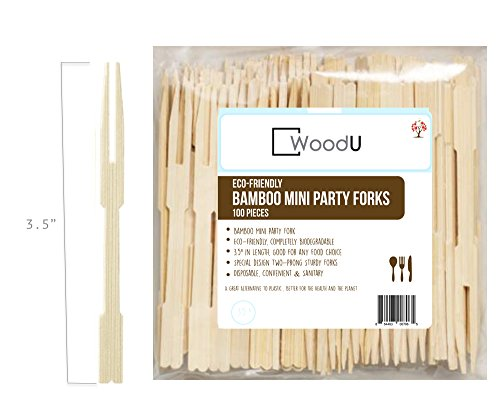 "Bamboo Party Forks, 3.5"" Mini Two-Prong Forks For Party Buffet, Catering, Cocktail Picks, Fruit Picks ( Pack of 100)"