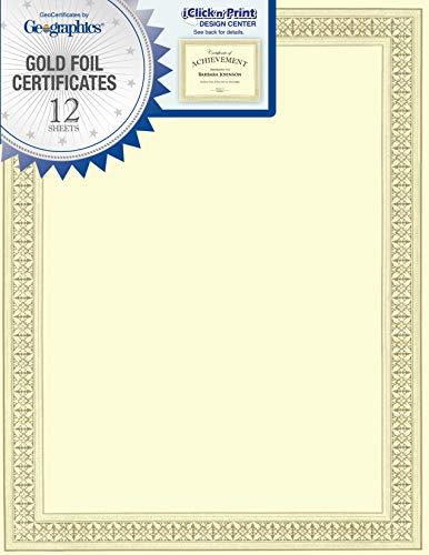 Geographics Flourish Premium Certificates (Gold Foil),8.5 x 11