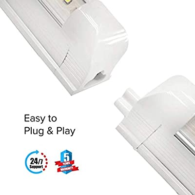 T8 8ft LED Tubes, 60W (Replaces 2, 80W fluorescent tubes), V Shape Integrated Tubes, Clear Lens Cover, 7800 Lumens, Extendable design, Plug-and-play, ETL, CE, ROHS Approved, 5 Years no hassle warranty