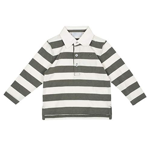 Long Sleeves Baby Boy's Polo T-Shirts Striped Cotton Casual Yarn-Dyed White and Green