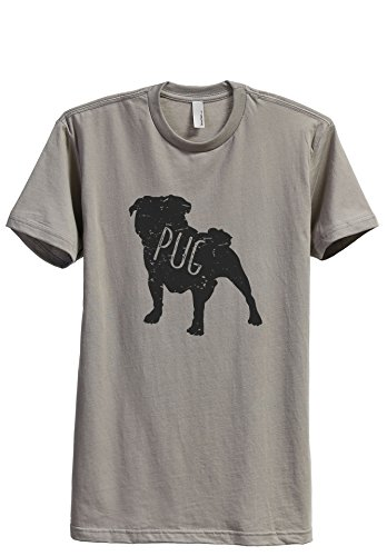 Thread Tank Pug Dog Silhouette Men's Modern Fit T-Shirt Printed Graphic Tee Military Grey Large