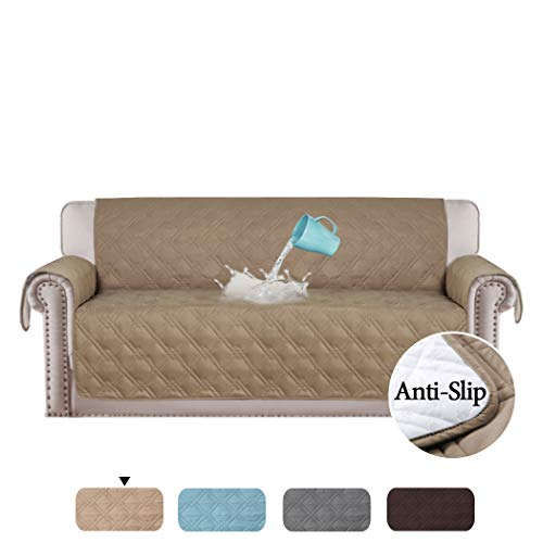 """H.VERSAILTEX 100% Waterproof Couch Covers for Sofa Plush Couch Protectors from Cats Scratching Furniture Protector for Dogs Cats Protect from Pets, Spills, Wear and Tear (Sofa: Taupe) - 75"""" x 112"""""""