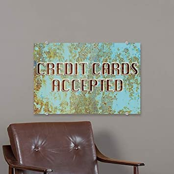 27x18 Credit Cards Accepted Ghost Aged Blue Premium Acrylic Sign 5-Pack CGSignLab