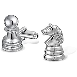 Bling Jewelry Knight and Pawn Chess Pieces Mens Cufflinks Rhodium Plated