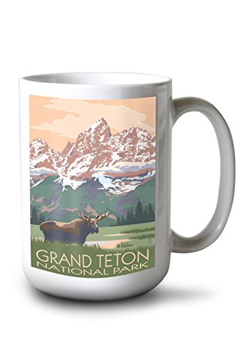 Lantern Press Grand Teton National Park, Wyoming - Moose and Mountains (15oz White Ceramic Mug)