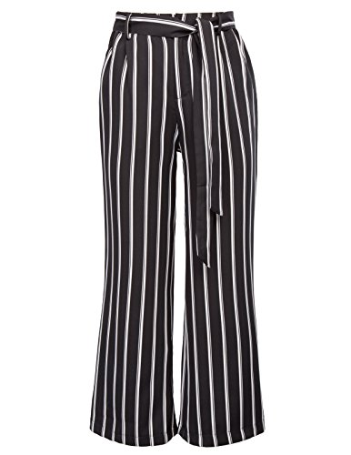 GRACE KARIN Women's High Waist Pants Striped Palazzo Slacks Work Trousers Size L (Striped Pants Slacks)