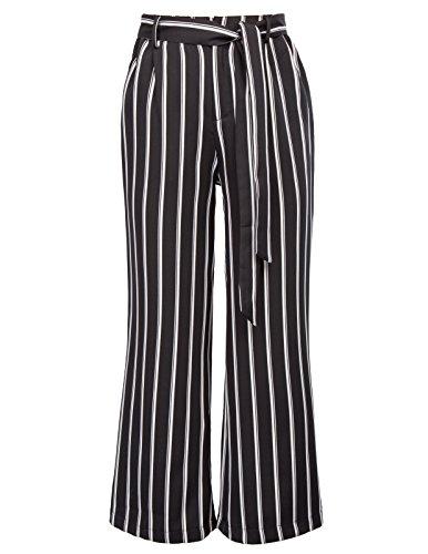 GRACE KARIN Women's High Waist Pants Striped Palazzo Slacks Work Trousers Size L (Striped Pants Slacks)