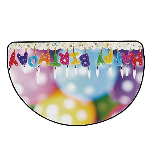 """Birthday Decorations for Kids Comfortable Semicircle Mat,Colorful Candles on Party Cake with Abstract Blurry Backdrop for Living Room,11.8"""" H x 23.6"""" L"""