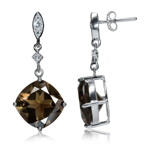 - 12.34ct. 12MM Cushion Natural Smoky Quartz & White Topaz 925 Sterling Silver Dangle Post Earrings