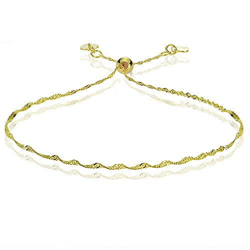 Bria Lou 14k Yellow Gold 1.4mm Italian Singapore Adjustable Chain Bracelet, 7-9 Inches by Bria Lou