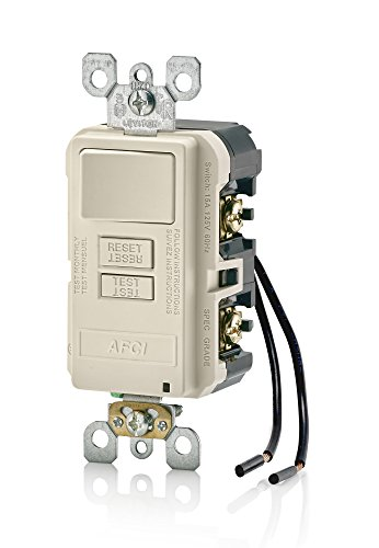 Leviton AFSW1-T SmartlockPro Outlet Branch Circuit Combination Arc-Fault Circuit Interrupter with Switch, 15-Amp, 120-volt, Light Almond