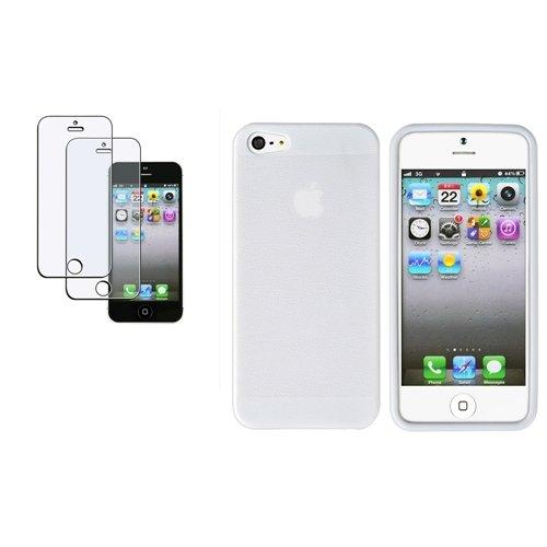 Weiß Ader TPU Hülle Tasche Case Etui +2x Matt Folie für Apple iPhone 5