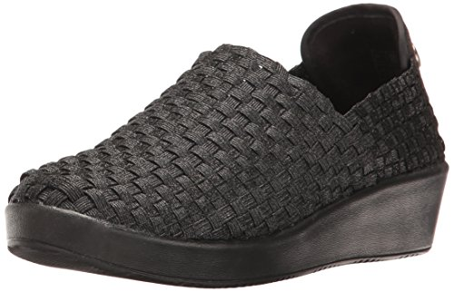 Bernie Mev Women's Smooth Cha Slip-On Loafer, Black/Metallic, 38 EU/7.5 M US
