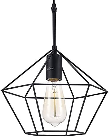 Ohr Lighting Modern Industrial Pendant Light Hanging Fixture Geometric Cage Matte Black