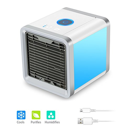 Quner Mini Air Conditioner with USB Portable Air Cooler Mobile Cooling Unit Air Cooler with water cooling for Office Table Car Bedroom Kids Room (3 Wind Speed - 7 Mood Lights) by Quner