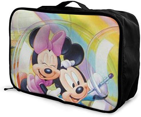 ボストンバッグ ミッキーミニー キャリーオンバッグ トラベルバッグ 大容量 厚手 丈夫 荷物 折りたたみ スーツケース固定可 旅行 出張 男女兼用 かわいい おしゃれ