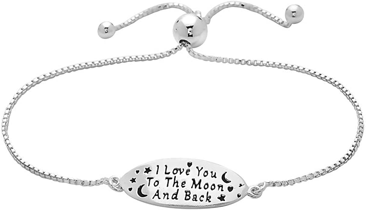 I love you to the moon and back message charm with snake chain necklace 3 sizes