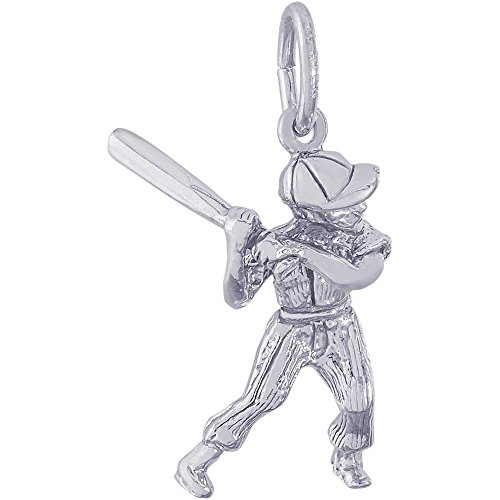 Rembrandt Charms Male Baseball Player Charm, 14K White (14k Baseball Player Charm)