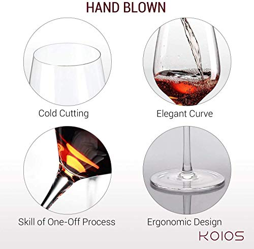 """KOIOS Hand Blown Crystal Wine Glasses - Classy Red/White Wine Glass Made from 100% Lead-Free Premium Crystal Glass, 15 Oz, 9"""", Perfect for Any Occasion, Great Gift, Set of 2, Clear"""