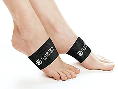 Copper Compression Arch Support - 2 Plantar Fasciitis Sleeves. Guaranteed Highest Copper Arch Supports Planter Fasciitis Support Braces Foot Care Feet Pain Flat Arches Heel Spurs