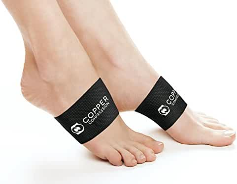Copper Compression Copper Arch Support - 2 Plantar Fasciitis Braces / Sleeves. GUARANTEED Highest Copper Content. For Foot Care, Heel Spurs, Plantar Fasciitis, Pain In Feet And Flat Arches. (1 PAIR)