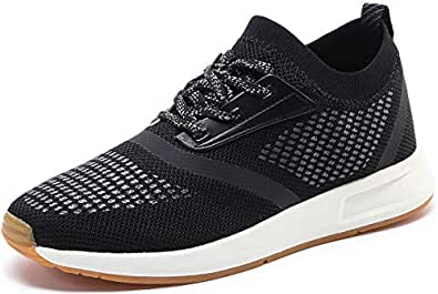 YIRUIYA Men's Knit Running Shoes Slip on Sneakers Breathable Tennis Athletic Walking Gym Sport Shoes Black Size: 7