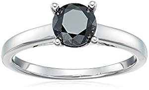 Sterling Silver Enhanced Black Round Diamond Solitaire Ring (1.00 cttw, I3 Clarity), Size 6