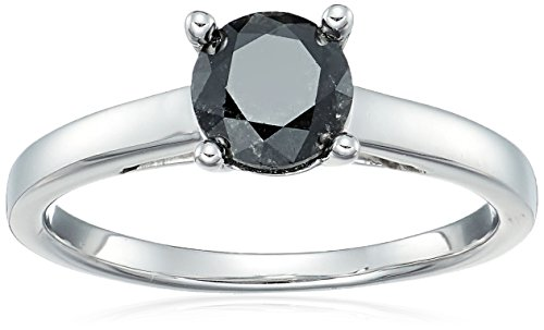 - Sterling Silver Enhanced Black Round Diamond Solitaire Ring (1.00 cttw, I3 Clarity), Size 6