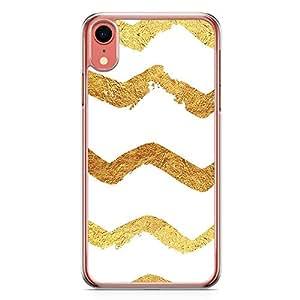 Loud Universe Phone Case Fits iPhone XR Transparent Edge Doodle Gold Phone Case Chevron Gold iPhone XR Cover